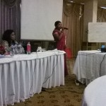 Phase two: A member from the plantation sector shares her experiences while facilitator Shamila Daluwatta looks on