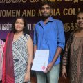Winner of the Short Film competition, Sivalingam Sivaraj with Kumuduni Samuel, Director of WMC, Rasika Deepani, WMC and Vanamali Galapatti, WMC